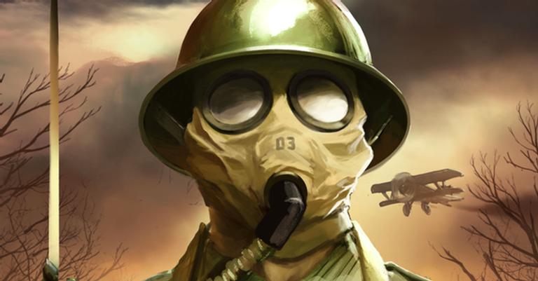 Soldado usando máscara de gás