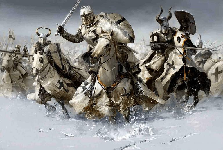 Cavaleiros teutônicos em ilustração para um jogo da Fireforge Games