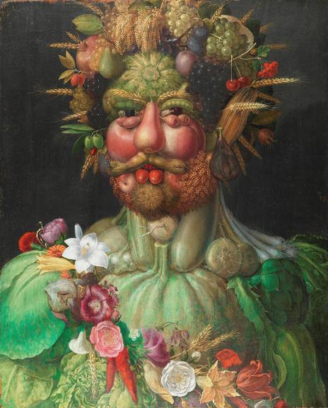 Vertumnus, do renascentista Arcimboldo, representa a bonança da natureza na figura do imperador Rodolfo II